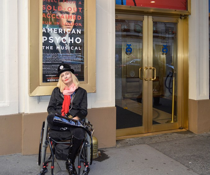 American Psycho Broadway - Wheelchair Streetstyler and patron