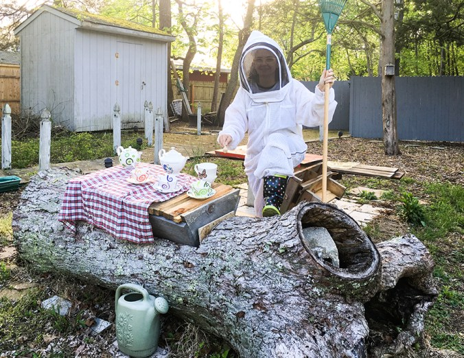 Mother's Day ideas - My BFF dressed as a beekeeper while serving tea.