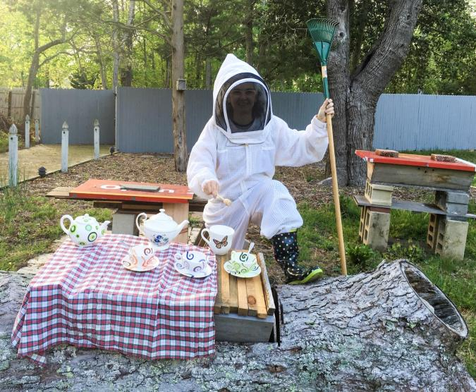 Another Mother's Day idea: serve tea in your yard while wearing a bee keeper outfit. Mess with her.