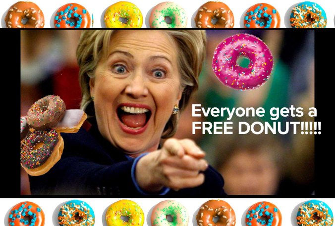 Hillary Clinton wants you to have a Free Donut. Vote