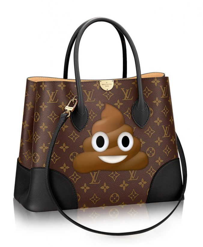 Louis Vuitton bag with poop emoji