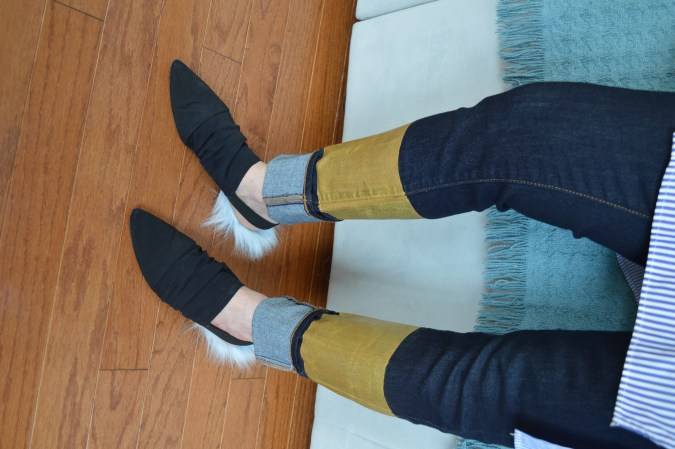 DIY gold dipped jeans