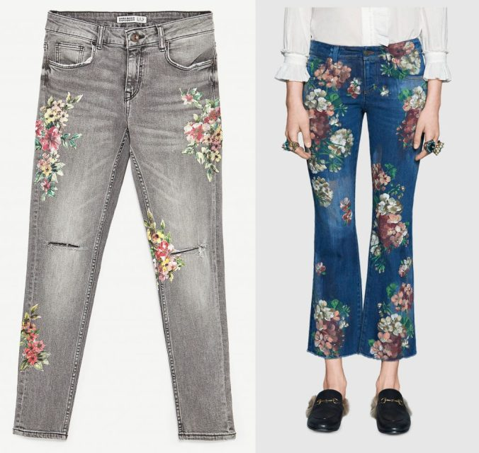 Zara and Gucci hand painted jeans