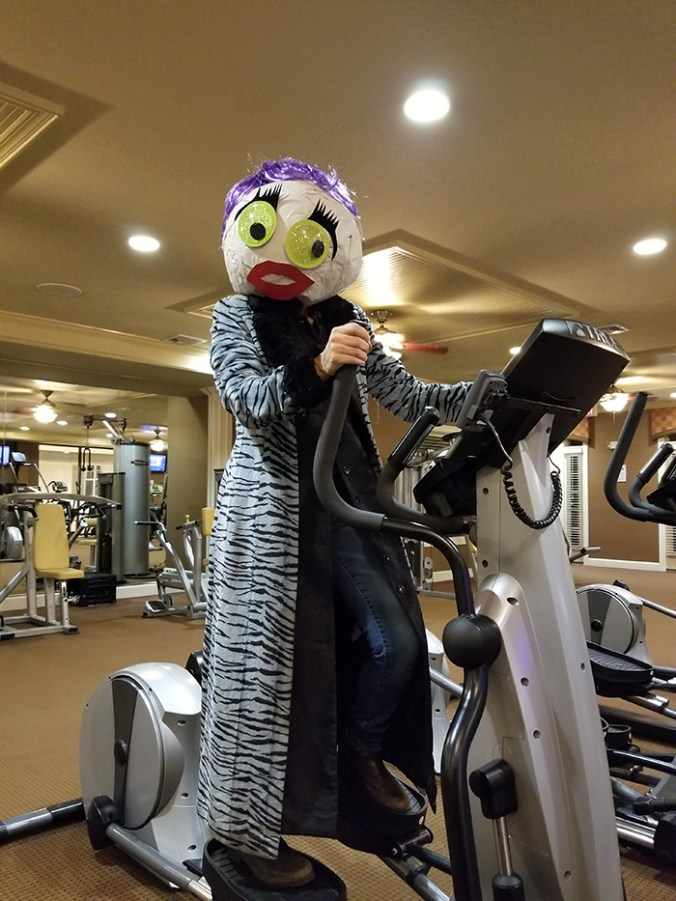 paper mache head at the gym