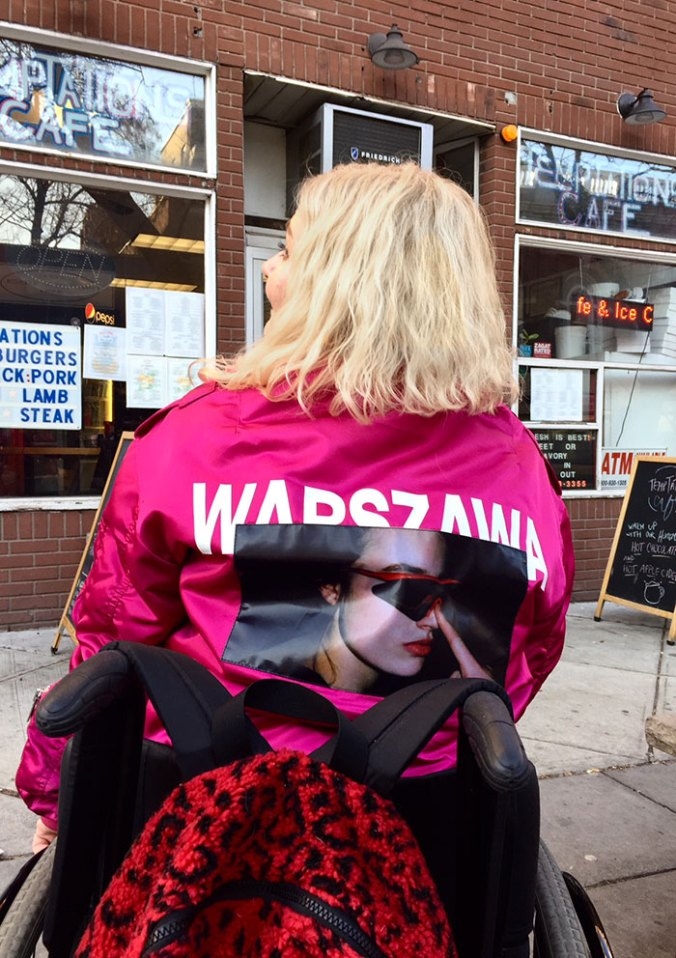 back of pink misbhv flight jacket
