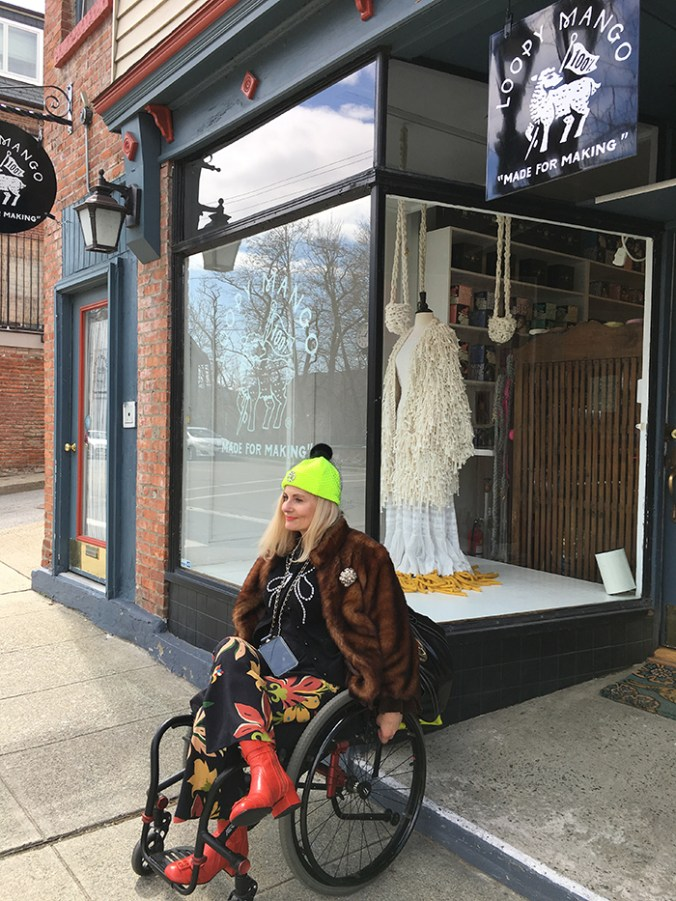 pretty cripple in front of loopy mango in beacon ny