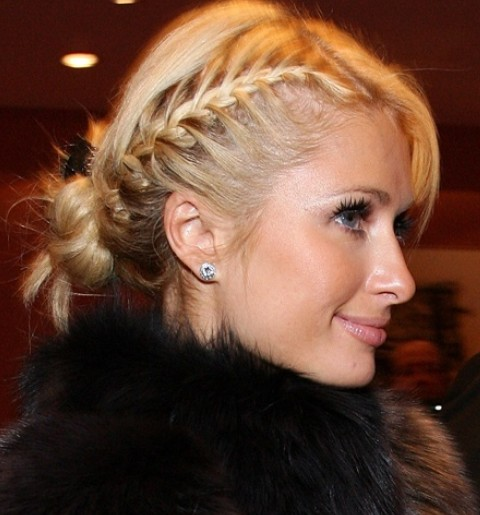 Paris Hilton Hairstyles Side Parted Braided Updo Pretty