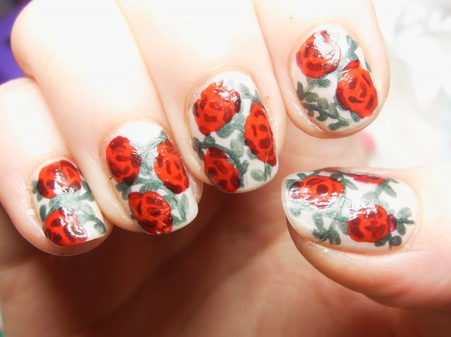 Papier Fleuri Rose Nailart Black Flower Nails Design Update Made Tutorial