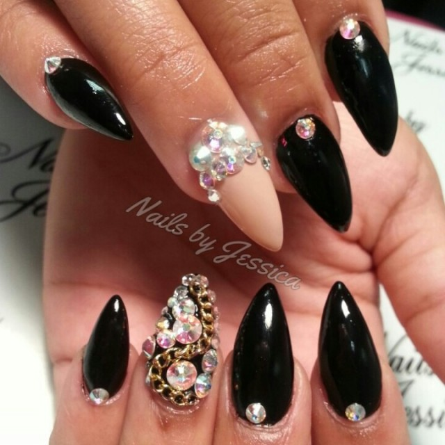Stiletto Nails Design With Studs
