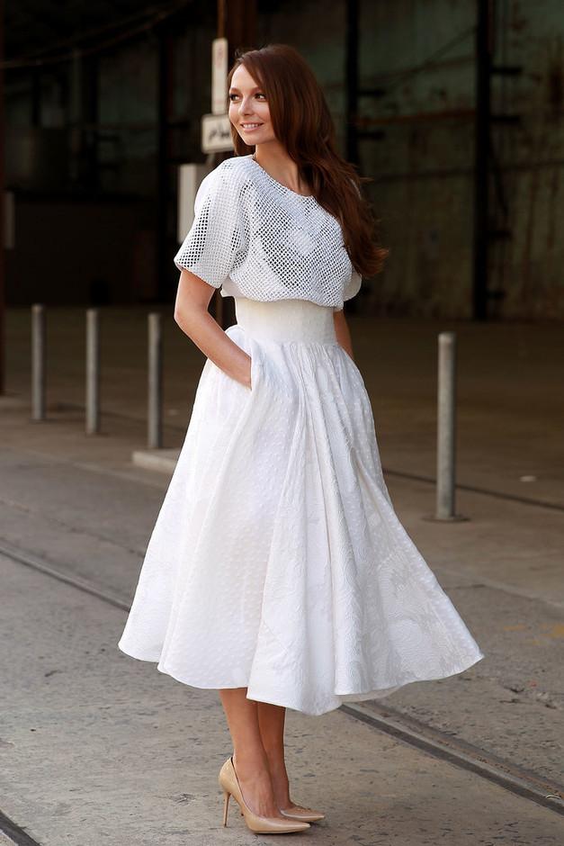 White Midi Skirt Outfit