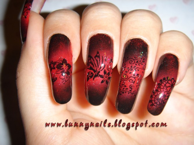 Red And Black Ombre Nail Art