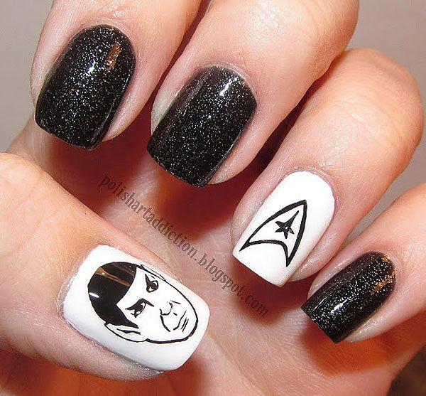 Glittering Star Trek Nail Design