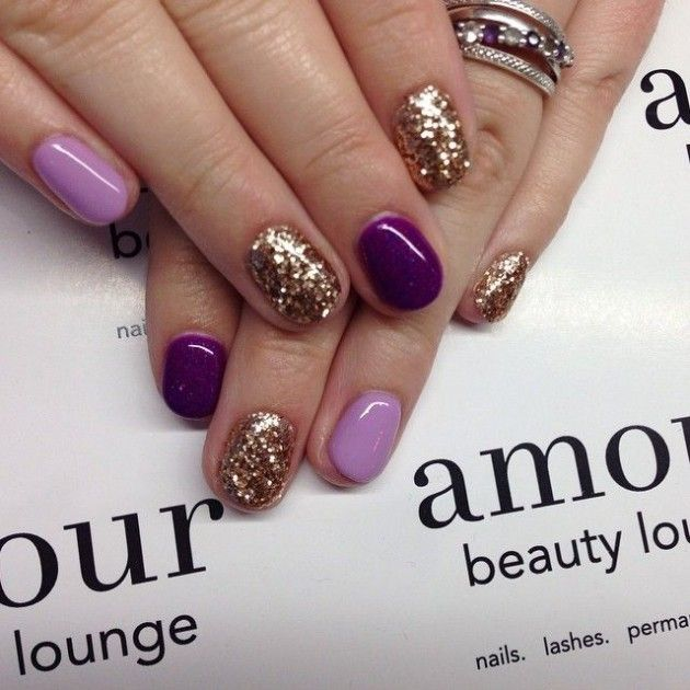 Purple And Gold Nail Art Design