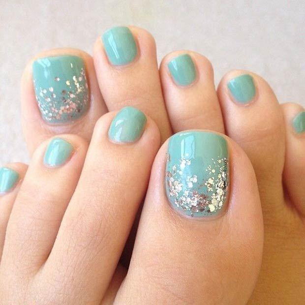 Prev Next French Flower Toe Nail Design Blue White Art
