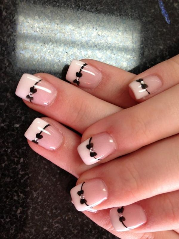 Bow French Manicure Idea