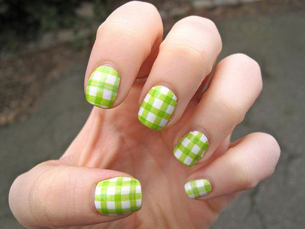Green And White Gingham Nail Design
