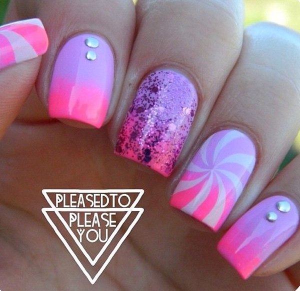 Purple To Pink Ombre Nail Design