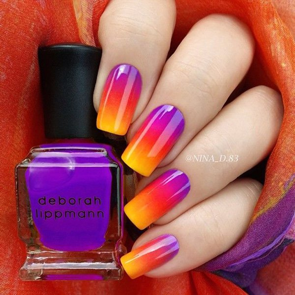 Violet To Yellow Grant Nail Design