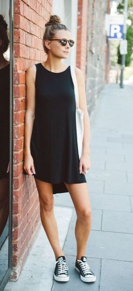 20 Super Casual Styles with Sneakers |Black Dress and Black Sneakers