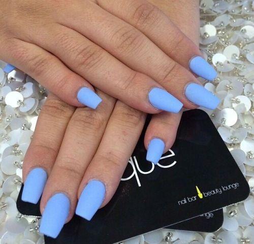 Blue Matte Nails