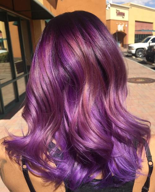 22 Sassy Purple Highlighted Hairstyles For Short Medium