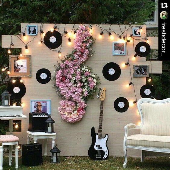music theme wedding backdrop via
