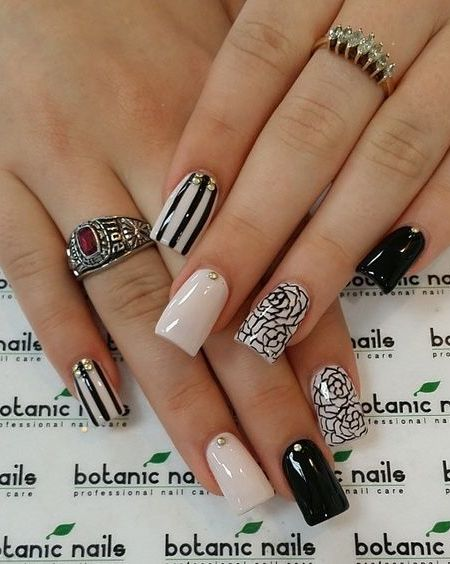 beige-nails-with-black-patterns via