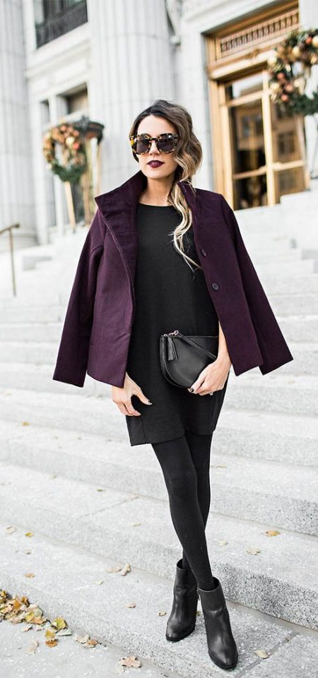 Burgundy Coat and All-black Base