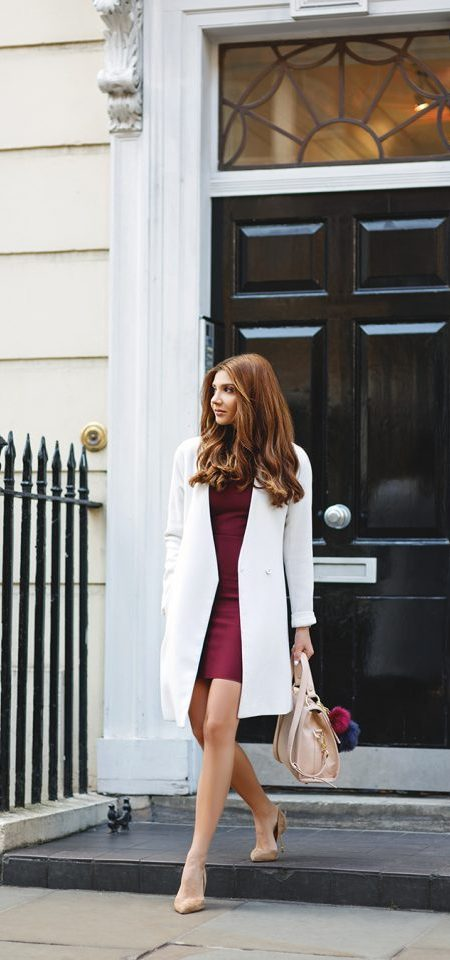 Burgundy Dress and White Coat