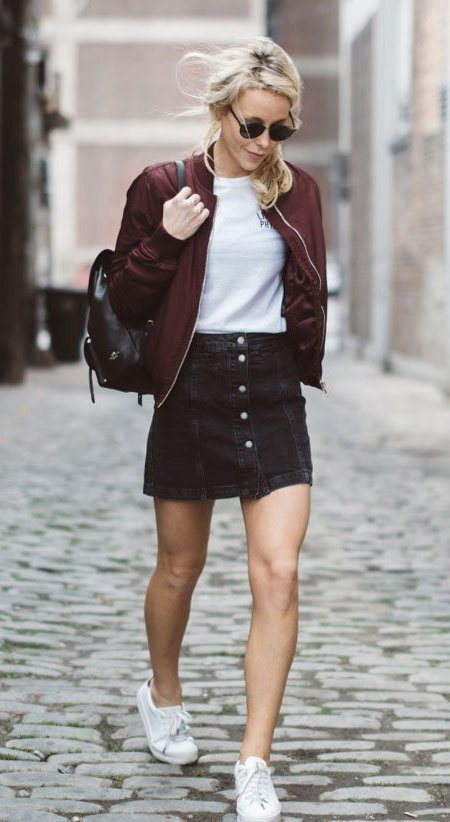 Burgundy Jacket and Pencil Skirt