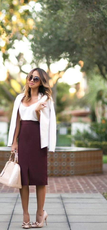 White Top and Burgundy Pencil Skirt