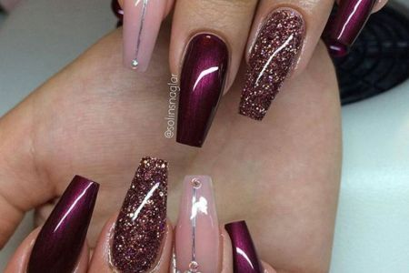 Burgundy And Black Nails Path Decorations Pictures Full Path