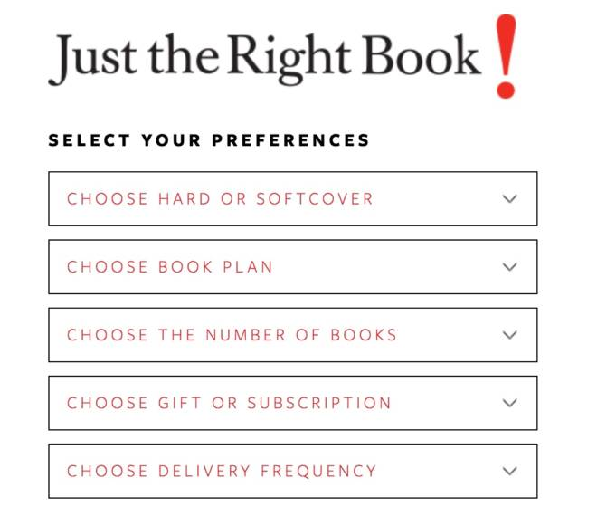 Last Minute Gift Idea for the Book Love: Just the Right Book - Preferences