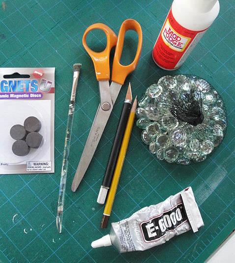 glass bead magnet materials - scissors, mod podge, pencil, E-6000