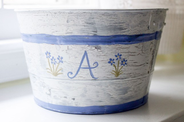 "hand painted ""A"" monogrammed pail"