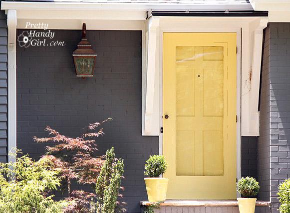 Dark Blue House Yellow Front Door