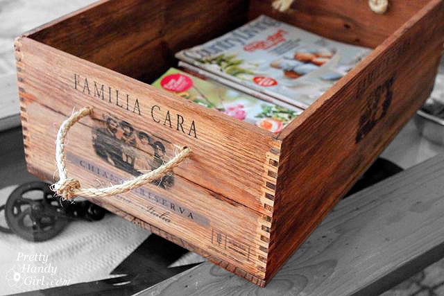 Rustic Wine Crate with Rope Handles