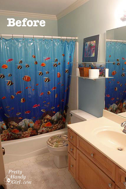 From Fishy To Beachy The Boys Bathroom Reveal Pretty Handy Girl