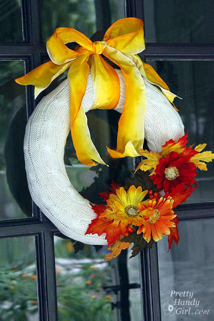 Make Your Own Fall Wreath from a goodwill sweater