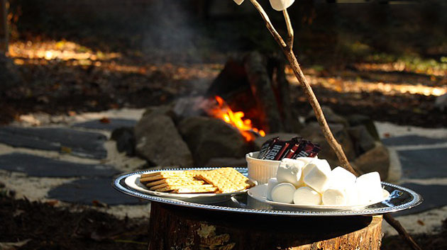 Image result for s'mores, outdoor fire