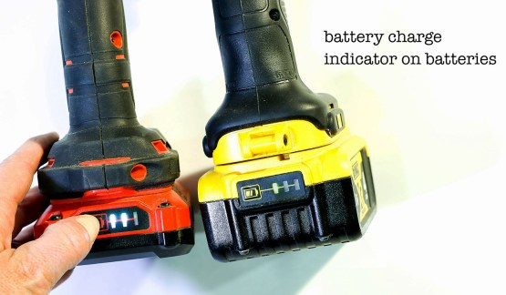 battery charge indicator on cordless battery