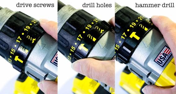 settings on a drill - drive screws, drill holes, hammer drill