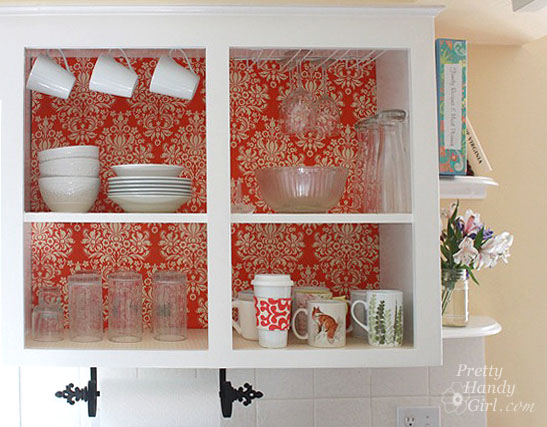 fabric backed open kitchen cabinets diy on a dime the tutorial pretty handy girl - Open Kitchen Cabinets