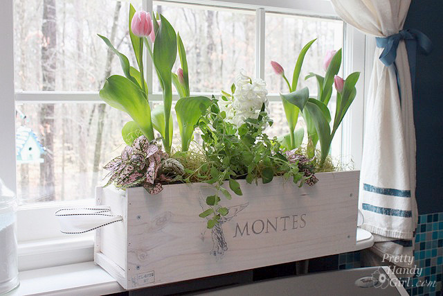 White Washed Window Box From a Wine Crate