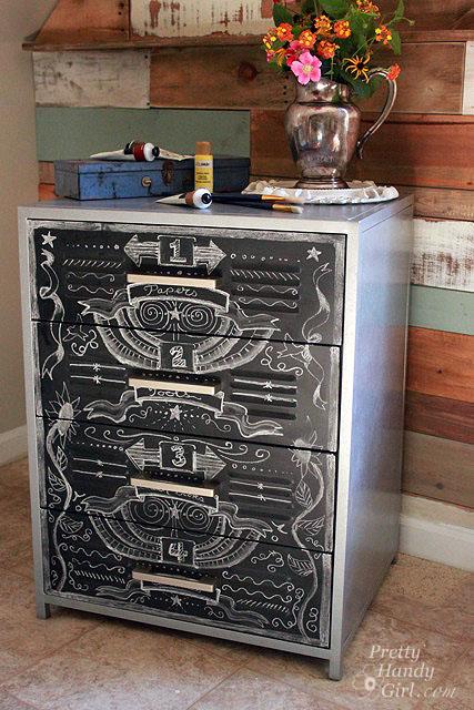 chalkboard zinc cabinet