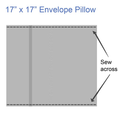 sawing across envelope pillow