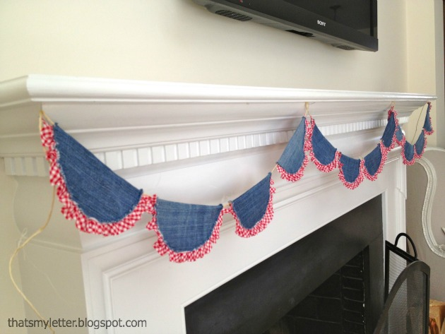 easy sewing projects to help you learn to sew - patriotic denim bunting tutorial
