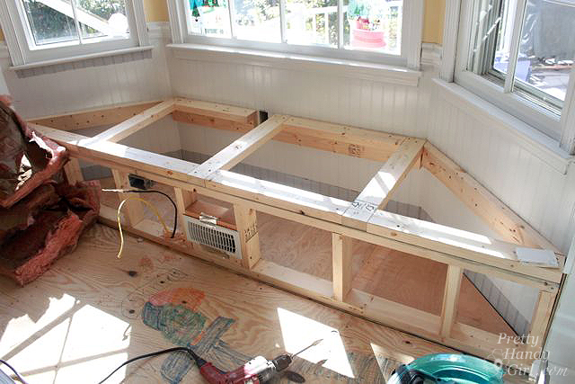 framed window seat plus wiring and hvac