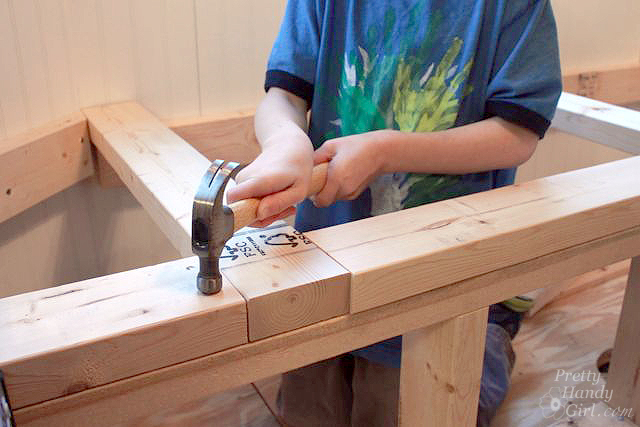 hammer top plate onto bench