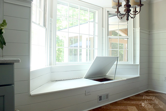 one side open window seat storage